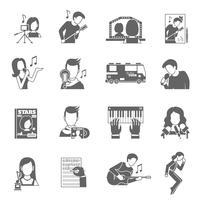 jeu d'icônes de chanteur pop vecteur