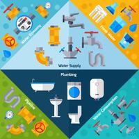 Coins d'approvisionnement en eau vecteur