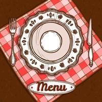 Menu Avec Assiette En Porcelaine vecteur