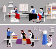 Modèle de conception de studio de couture vecteur