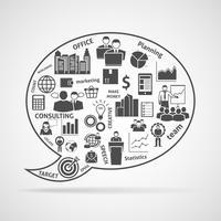 Icône de bulle de travail d'équipe stratégie concept