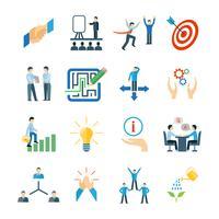 Ensemble plat d'icônes de mentorat vecteur