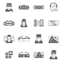 Lunettes virtuelles Icon Set vecteur