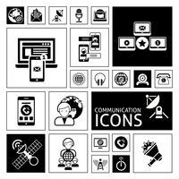 Icônes de communication noir vecteur