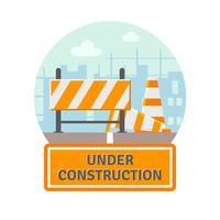 En construction icône plate