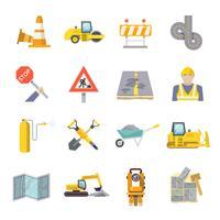 Ensemble d'icônes plat travailleur de la route