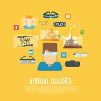 Verres virtuels plats vecteur
