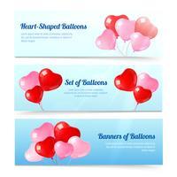 Jeu de bannières horizontales de ballons colorés vecteur