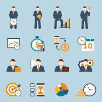Ensemble d'icônes plat de gestion du temps