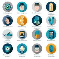 Icônes d'authentification biométrique vecteur