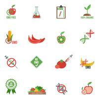Icônes OGM à plat