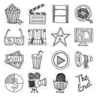 Jeu d'icônes vintage cinéma film vecteur