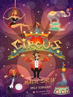 Affiche de spectacle de cirque vecteur