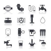 Icônes d'approvisionnement en eau noir vecteur