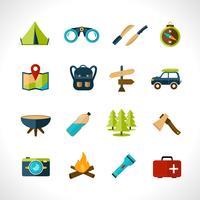 jeu d'icônes de camping