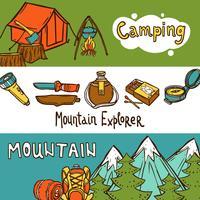 Camping bannières horizontales vecteur