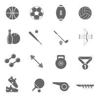 Icônes de sport mis en noir vecteur
