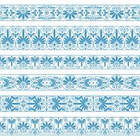 Frontières antiques de couleur bleue sur le fond blanc.