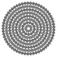 Textures sans couture ethniques monochromes. Forme de vecteur ornemental rond isolé sur blanc. Impression de fond arabesque orientale. Illustration vectorielle