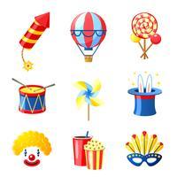 jeu d'icônes de carnaval vecteur