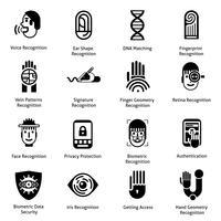 Icônes d'authentification biométrique noires vecteur