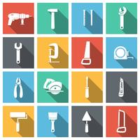 Outils plats Icons Set