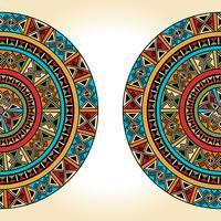 Ethnique traditionnel coloré lumineux demi-rond motif sur fond beige vecteur