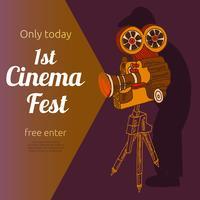 Affiche publicitaire du festival du film vecteur
