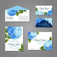 Set d'invitations d'hortensias