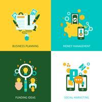 Concept d'analyse d'entreprise 4 icônes plats vecteur