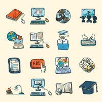 Croquis d'icônes d'éducation en ligne vecteur