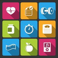 Mode de vie sain iconset pour application de fitness