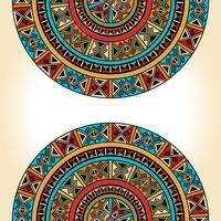 Ethnique traditionnel coloré lumineux demi-rond motif sur fond beige