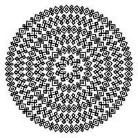 Textures sans couture ethniques monochromes. Forme de vecteur ornemental rond isolé sur blanc