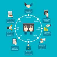 Infographie des mains d'affaires vecteur
