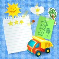 Modèle de carte postale papier camion jouet vecteur