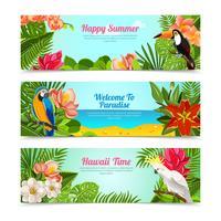 Ensemble de bannières horizontales fleurs île tropicale vecteur