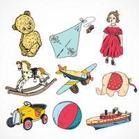 Jeu d'icônes de croquis colorés de jouets