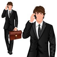 Jeune homme d'affaires permanent vecteur