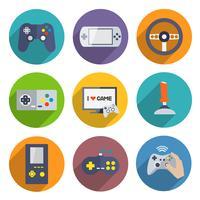 Jeu d'icônes de contrôleur de jeux vidéo vecteur