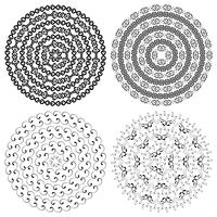 Textures rondes ethniques monochromes. vecteur