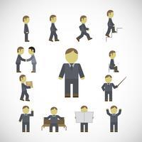 Jeu d'icônes d'affaires homme activités vecteur