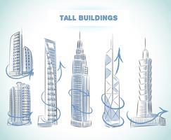 Ensemble d'icônes de bâtiments de gratte-ciels modernes vecteur
