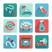 Icônes de lavage de voiture plat vecteur