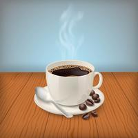 Tasse avec espresso classique noir sur la table vecteur