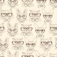Modèle sans couture de chat hipsters vecteur