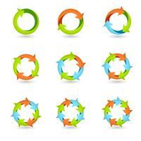 Icônes de flèche de cercle vecteur