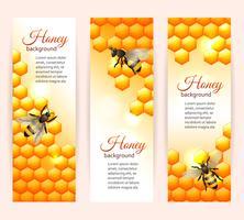 Bannières d'abeilles verticales vecteur