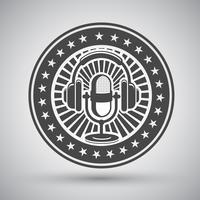 Emblème microphone et casque rétro vecteur