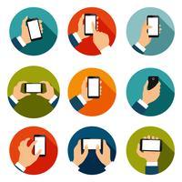 Mains avec téléphones Icons Set